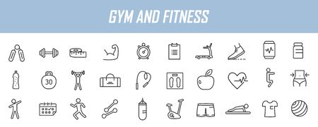 Set of linear fitness icons. GYM icons in simple design. Vector illustration Ilustrace