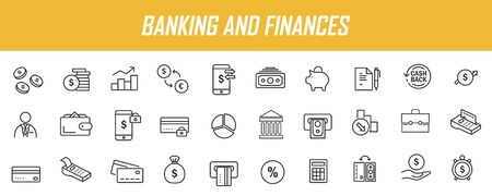 Set of linear banking icons. Finances icons in simple design. Vector illustration Ilustrace