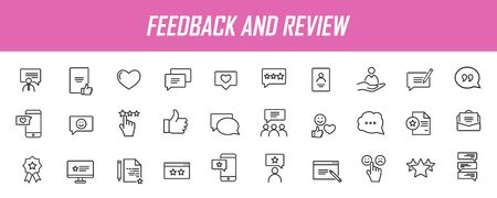 Set of linear feedback icons. Customer satisfaction icons in simple design. Vector illustration