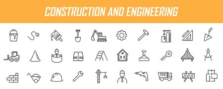 Set of linear construction icons. Engineering icons in simple design. Vector illustration