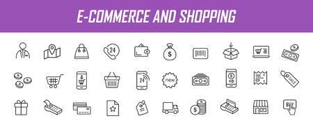 Set of linear e-commerce icons. Shopping icons in simple design. Vector illustration
