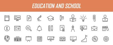 Set of linear education icons. School icons in simple design. Vector illustration