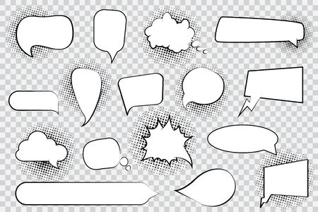 Set of blank comic speech bubbles with halftone
