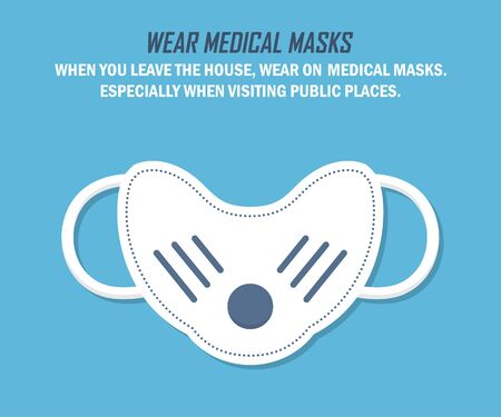 Recommendation during a coronavirus pandemic. Wear medical masks. Medical mask in a flat design on a blue background Ilustrace