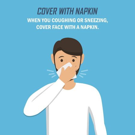 Recommendation during a coronavirus pandemic. Cover with napkin. Man sneezes and covers himself with a napkin in a flat design on a blue background Ilustrace