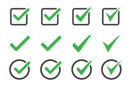 Set of check mark icon on a white background