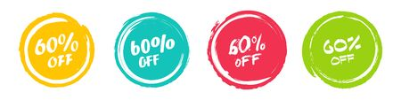 Set of grunge sticker with 60 percent off in a flat design. For sale, promotion, advertising Ilustrace