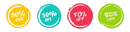 Set of grunge sticker with 50 percent off in a flat design. For sale, promotion, advertising Ilustrace