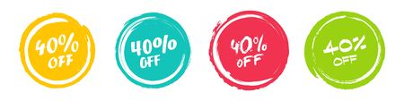 Set of grunge sticker with 40 percent off in a flat design. For sale, promotion, advertising