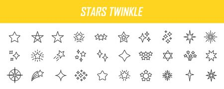 Set of linear stars icons. Twinkle icons in simple design. Vector illustration Vectores