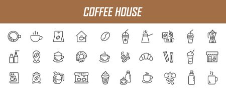 Set of linear coffee house icons. Coffee icons in simple design. Vector illustration Ilustrace