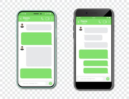 Set of smartphones with blank chat messenger. Template with message bubbles in smartphone