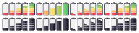 Set of battery charging indicator icons on a white background