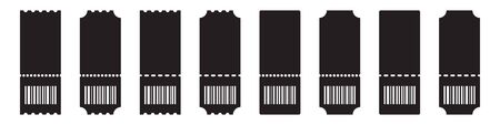 Set of blank ticket template with barcode on a white background