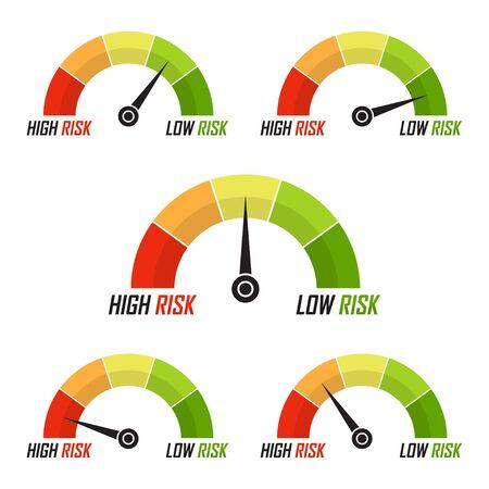 Conjunto de iconos de velocímetro de riesgo en un diseño plano. Medir el nivel de riesgo Ilustración de vector