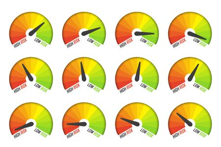 Set of risk speedometer icons with shadow. Measuring level of risk