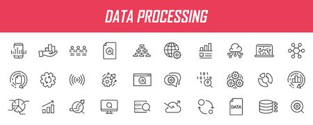 Set of linear data processing icons. Analysis icons in simple design. Vector illustration