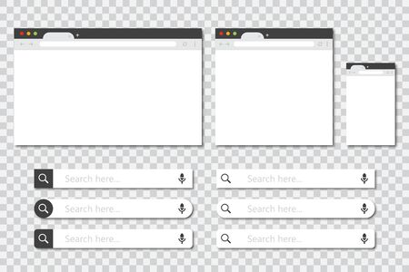 Set of browser windows in different sizes and search bar collection in a flat design with shadow. Mockup of browser window