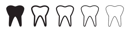 Tooth icons in five different versions in a flat design Vettoriali