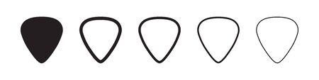 Guitar pick icons in five different versions in a flat design