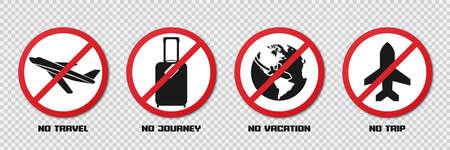 Prohibition signs during quarantine. No travel, journey, vacation, trip Иллюстрация