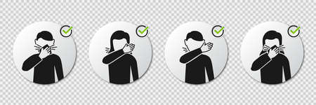 Preventive measures icons how to cough and sneeze and not spreading virus with man and woman icons Illusztráció