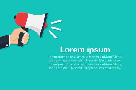 Hand holding megaphone with place for text in a flat design. Marketing concept