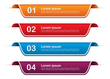 Infographic banners with 4 options, steps. Mockup template. Vector illustration