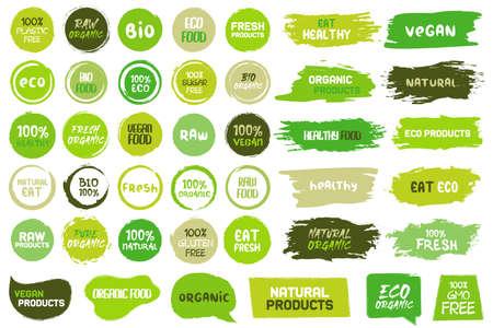 Big set of grunge healthy eating food badges, tag and frames