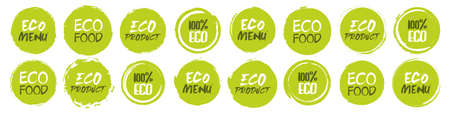 Eco collection. Set of different grunge circles shapes label with different text