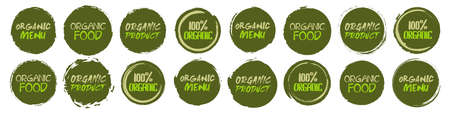 Organic  collection. Set of different grunge circles shapes label with different text