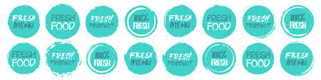 Fresh  icon collection. Set of different grunge circles shapes label with different text