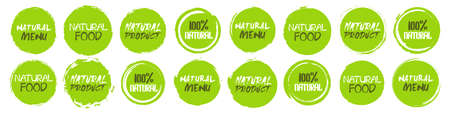 Natural icon collection. Set of different grunge circles shapes label with different text