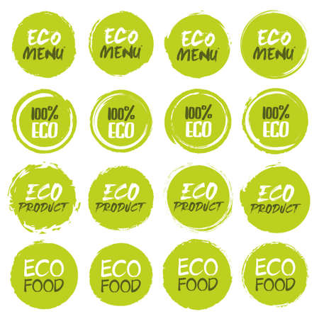 Eco  icon collection. Set of different grunge circles shapes label with different text