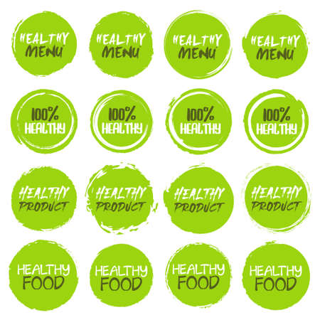 Healthy Icon  collection. Set of different grunge circles shapes label with different text
