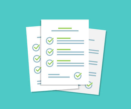 Document checklist paper sheets pile with tick in a flat design