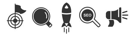 Set of marketing simple icons in black