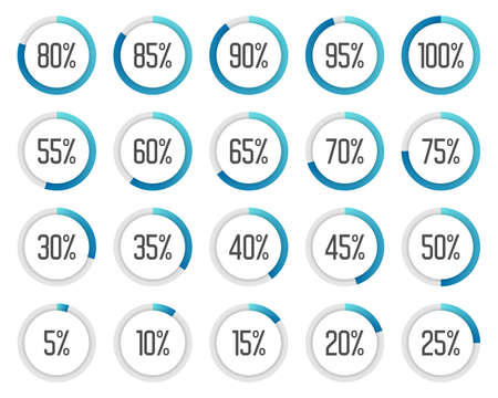 Set of colorful pie charts. Collection of blue percentage diagrams