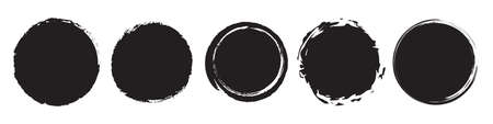 Set of five different grunge circles in black