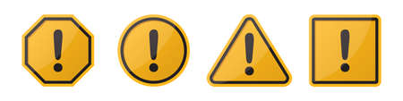 Set of hazard attention sign with exclamation mark in different shapes in orange Ilustrace