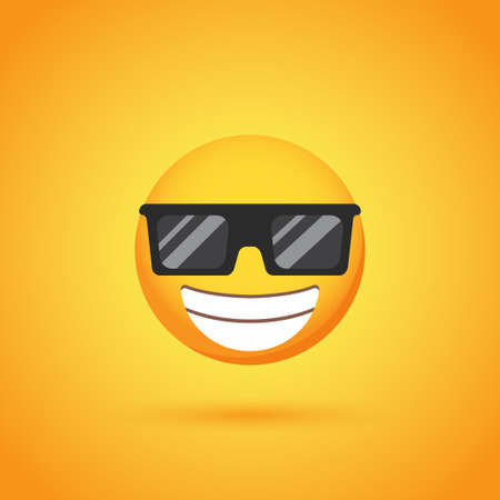 Happy sunglasses emoticon smile icon with shadow for social network design Ilustrace