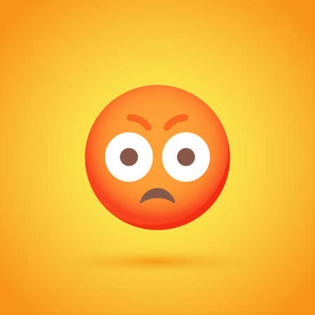 Surprise anger emoticon smile icon with shadow for social network design