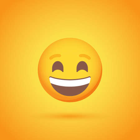 Laugh emoticon smile icon with shadow for social network design