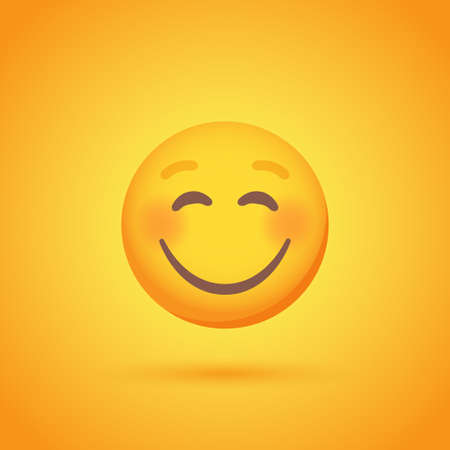 Satisfied emoticon smile icon with shadow for social network design