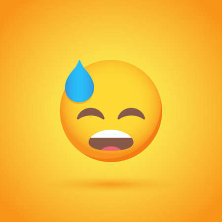 Disappointed emoticon smile icon with shadow for social network design Ilustrace