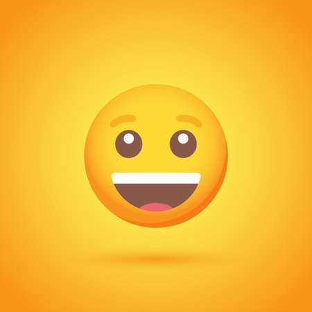 Happy emoticon smile icon with shadow for social network design Ilustrace