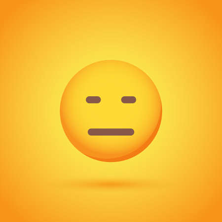 Indifference emoticon smile icon with shadow for social network design Ilustrace