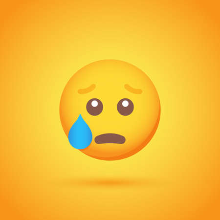 Sadness emoticon smile icon with shadow for social network design Ilustrace