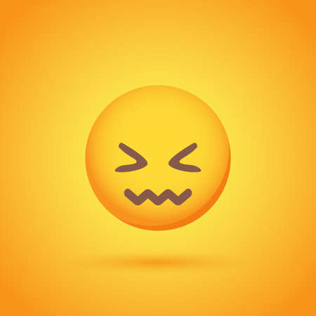 Disgust emoticon smile icon with shadow for social network design Ilustrace