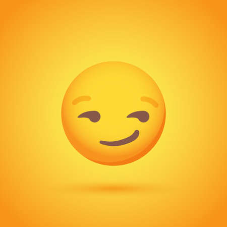 Flirting emoticon smile icon with shadow for social network design Ilustrace